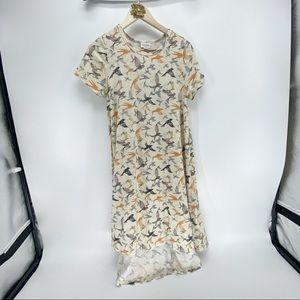 Lularoe bird patterned cream midi dress